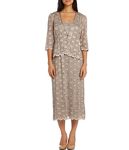 R & M Richards Stretch Lace Scallop Hem Tea Length Two-Piece Jacket Dress