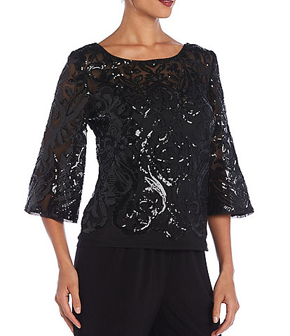 R & M Richards Stretch Power Mesh Sequined 3/4 Sleeve V-Back Top