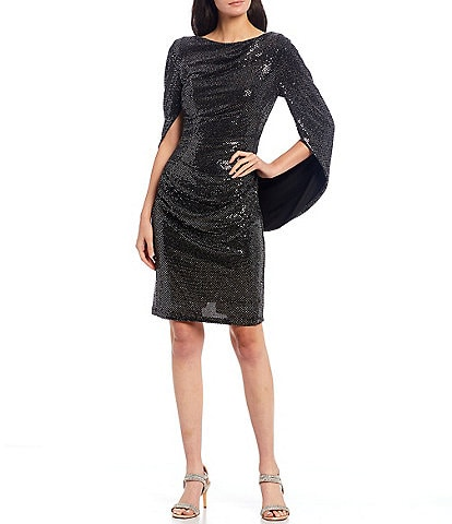 R & M Richards Stretch Sequin Metallic Boat Neck Draped Back Sheath Dress