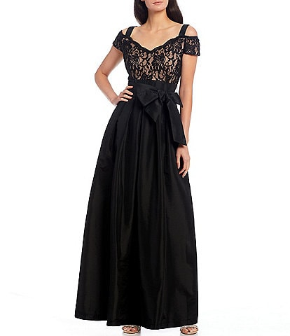 R & M Richards Sweetheart Neck Cold Shoulder Cap Sleeve Bow Waist Taffeta Ball Gown