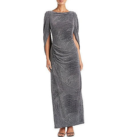 R & M Richards Swirl Jacquard Print Stretch Knit Drape Back Gown