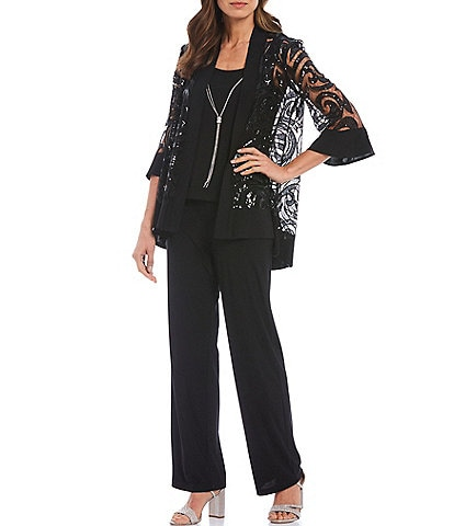 R & M Richards Swirl Sequin Jacket 3-Piece Pant Set