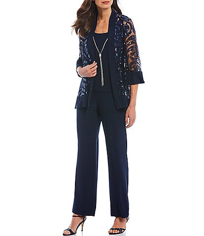 R & M Richards Swirl Sequin Jacket 3-Piece Pant Set