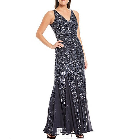 R & M Richards V-Neck Sleeveless Long Geometric Beaded Godet Gown