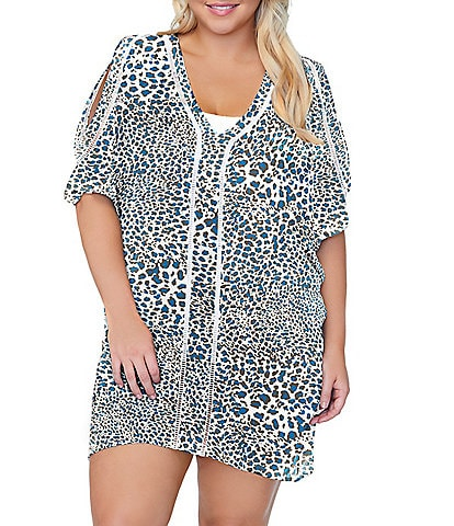 Raisins Plus Size Tranquilo Short Cold Shoulder Caftan