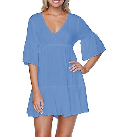 Raisins Tavarua Swim Ruffle Hem V-Neck Cover Up Dress