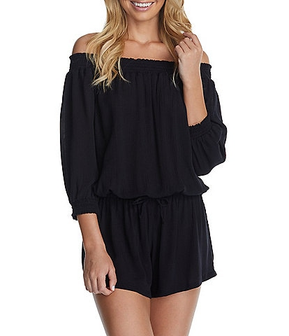 Raisins West Coast Cover Up Off The Shoulder 3/4 Sleeve Romper