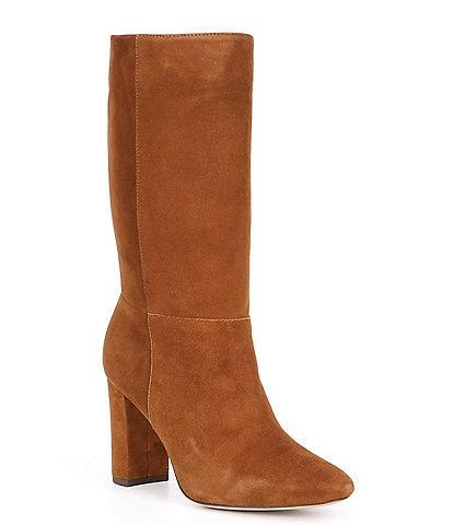 Ralph Lauren Artizan Slouch Suede Block Heel Boots