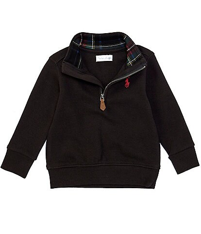 Ralph Lauren Baby Boys 3-24 Months Holiday Plaid-Trim Interlock Quarter-Zip Pullover