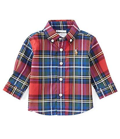 Ralph Lauren Baby Boys 3-24 Months Long-Sleeve Button Front Plaid Poplin Shirt