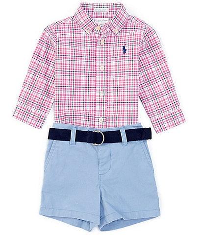 Ralph Lauren Baby Boys 3-24 Months Long-Sleeve Plaid Shirt, Belt & Short Set