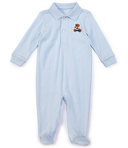 Ralph Lauren Baby Boys 3-9 Months Long-Sleeve Polo Bear Footed Coverall