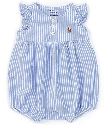 Ralph Lauren Baby Girls Newborn-9 Months Striped Oxford Bubble Shortall