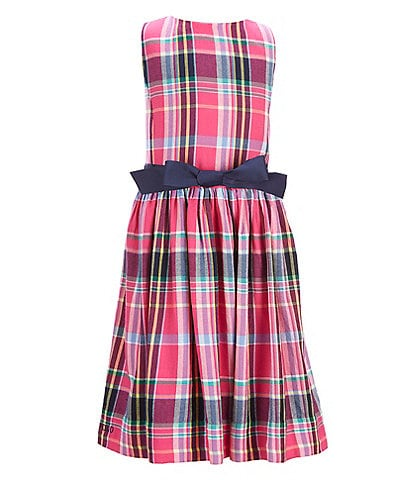 Ralph Lauren Big Girl 7-16 Plaid Print Twill A-Line Dress