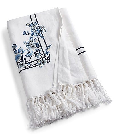 Ralph Lauren Blanc Bleu Collection Kamryn Embroidered Linen Throw