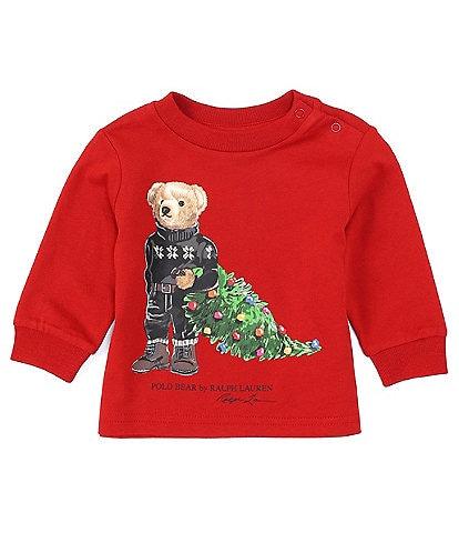 Ralph Lauren Baby Boys 3-24 Long-Sleeve Holiday Bear Graphic Tee