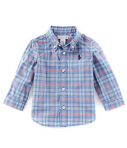 Ralph Lauren Childrenswear Baby Boys 6-24 Months Long-Sleeve Contrast Plaid Poplin Shirt