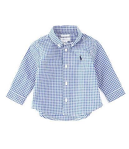 Ralph Lauren Childrenswear Baby Boys 3-24 Months Long-Sleeve Gingham-Checked Poplin Shirt