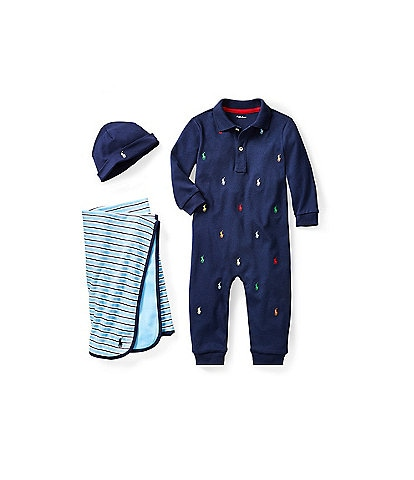 Ralph Lauren Childrenswear Baby Boys Newborn-12 Months Coverall, Blanket & Bib Layette Collection