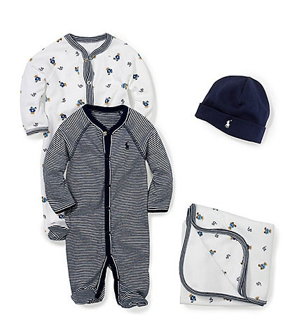 Ralph Lauren Childrenswear Baby Boys Newborn-9 Months Coverall, Blanket, Beanie Layette Collection