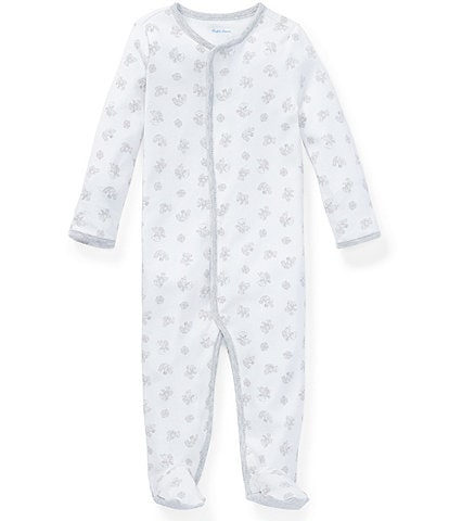 Ralph Lauren Childrenswear Baby Newborn-9 Months Long-Sleeve Printed Footed Coverall