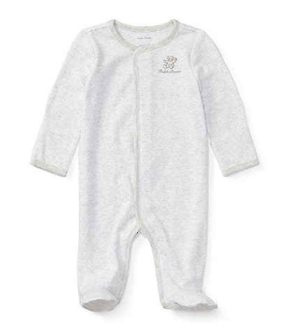 Ralph Lauren Childrenswear Baby Newborn-9 Months Long-Sleeve Striped Footed Coverall