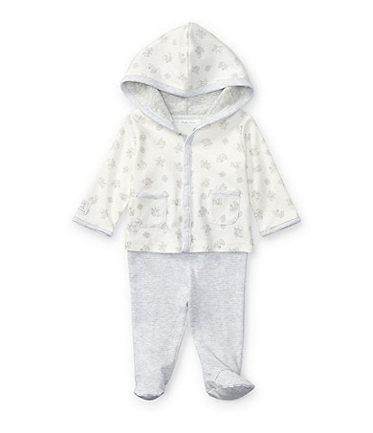 Ralph Lauren Childrenswear Baby Newborn-9 Months Mixed-Media Hoodie & Striped Footed Pant Set