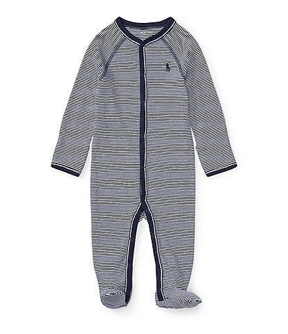 Ralph Lauren Childrenswear Baby Boys Newborn-9 Months Solid-Trim Striped Coverall