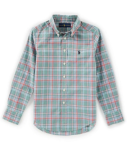 Ralph Lauren Childrenswear Big Boys 8-20 Long-Sleeve Plaid Poplin Shirt