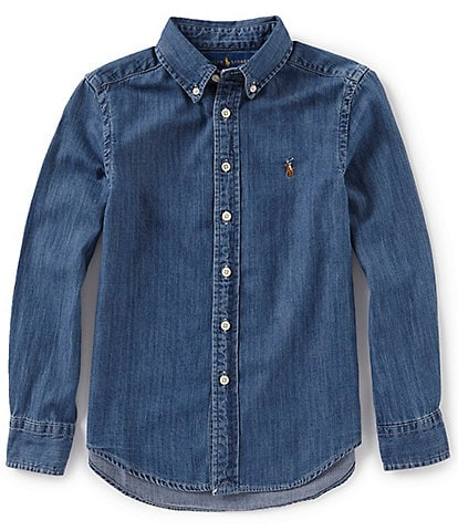 Ralph Lauren Childrenswear Big Boys 8-20 Long-Sleeve Denim Sportshirt