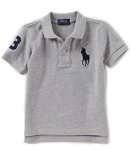 Ralph Lauren Childrenswear Little Boys 2T-7 Oversized Logo Classic Mesh Polo Shirt