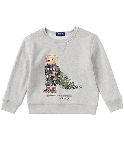 Polo Ralph Lauren Childrenswear Little Boys 2T-7 Holiday Bear Christmas Tree Fleece Sweatshirt