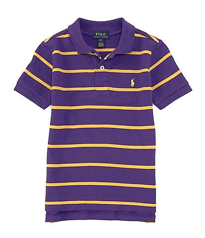 Ralph Lauren Childrenswear Little Boys 2T-7 Short-Sleeve Striped Mesh Polo Shirt