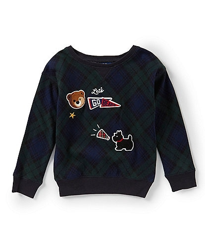 Ralph Lauren Childrenswear Little Girls 2T-6X Patchwork Tartan Sweatshirt