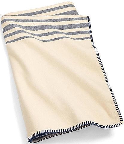Ralph Lauren Indigo Cottage Waltham Stripe Brushed Cotton Bed Blanket