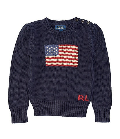 Ralph Lauren Little Girls 2T-6X American Flag Sweater