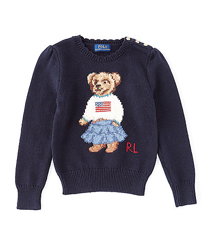Polo Ralph Lauren Little Girls 2T-6X Polo Bear Flag Sweater