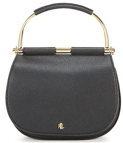 Lauren Ralph Lauren Mason 20 Circle Top Handle Leather Satchel Bag
