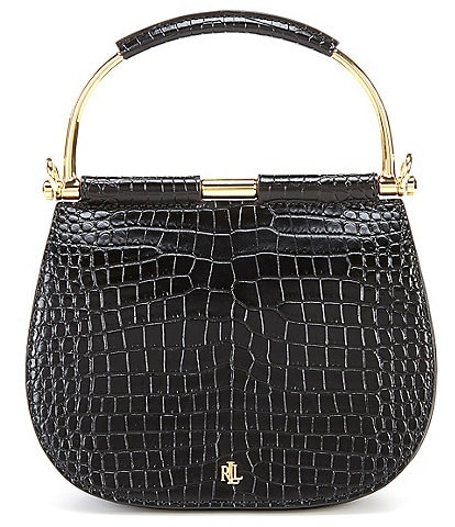 Lauren Ralph Lauren Mason Crocodile-Embossed Top Handle Mini Satchel Bag