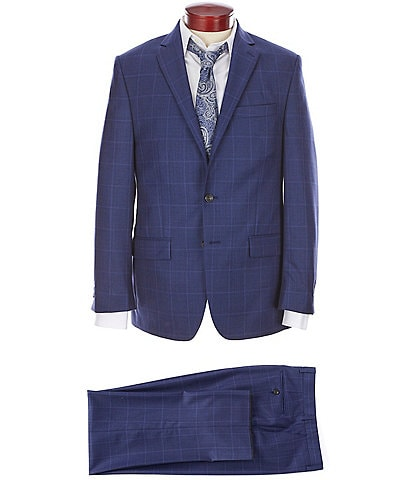 Ralph Ralph Lauren Classic Fit Blue Flat Front Windowpane Wool Suit