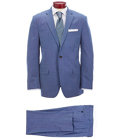 Ralph Ralph Lauren Classic Fit Pleated Fancy Blue Wool Suit