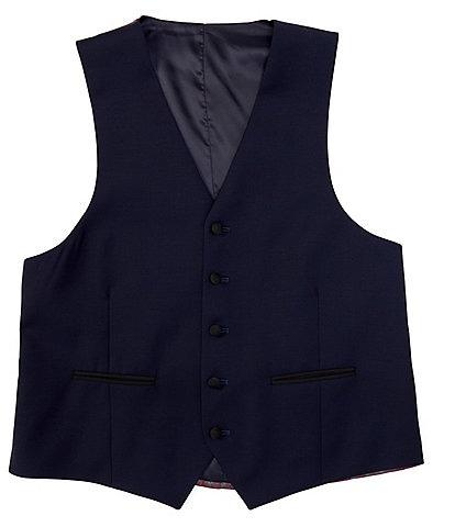 Ralph Ralph Lauren Classic Fit Navy Solid Wool Tuxedo Vest