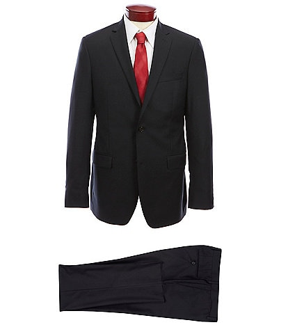 Ralph Ralph Lauren Slim Fit Black Flat Front Solid Wool Suit