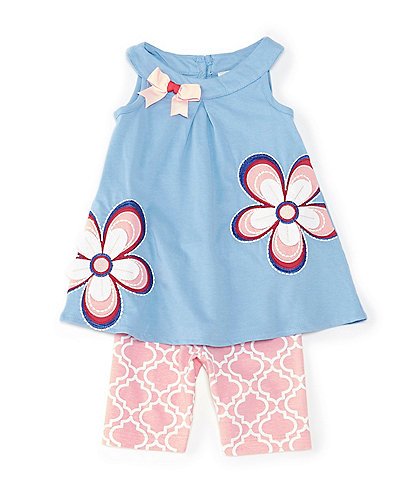 Rare Editions Baby Girls 12-24 Months Flower-Appliqued Top & Geometric Bike Shorts Set