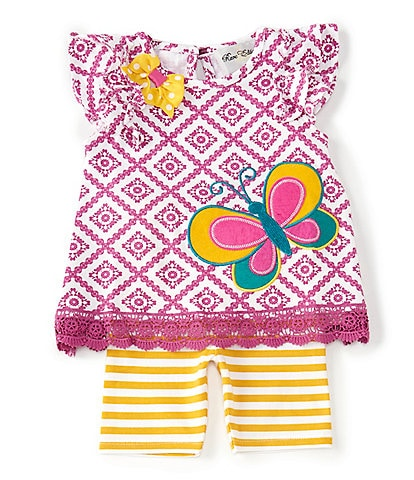 Rare Editions Baby Girls 12-24 Months Geometric Butterfly-Applique Top & Striped Bike Shorts Set