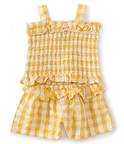 Rare Editions Baby Girls 12-24 Months Gingham Tank Top & Shorts Matching Set