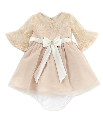Rare Editions Baby Girls 12-24 Months Lace Bell Sleeve Bow Front Fit-And-Flare Dress