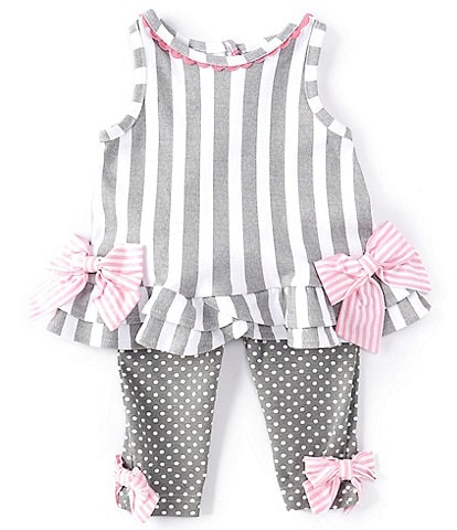 Rare Editions Baby Girls 3-24 Months Bows Striped Tunic Top & Pindotted Leggings Set