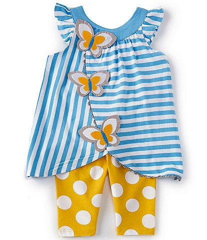 Rare Editions Baby Girls 3-24 Months Butterfly Stripe Tulip-Hem Top & Dotted Leggings Set