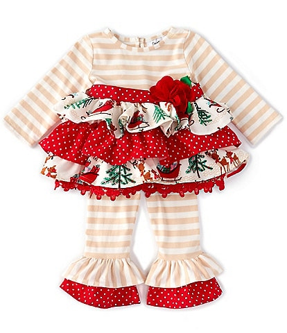 Rare Editions Baby Girls 3-24 Months Christmas Mixed-Media Dress & Striped Leggings Set